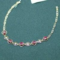 18 K Rose Or Ruby bracelet naturel ruby avec diamant bijoux bijoux cadeau de mariage cadeau