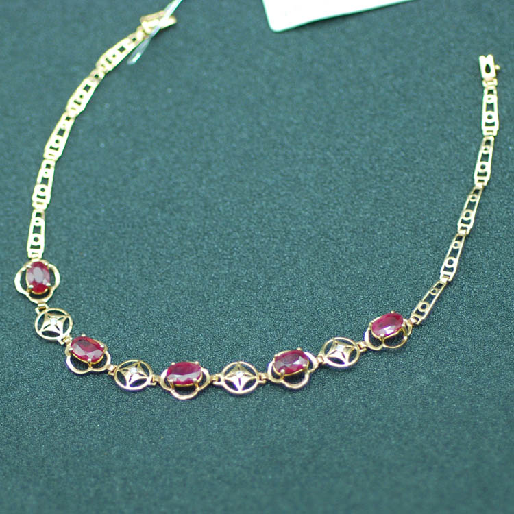 18K Rose Gold Ruby bracelet natural ruby with diamond jewelry jewelry gift wedding gift