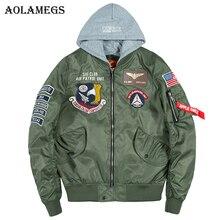 Aolamegs Bomber Jacket Men Badge Air Pilot Hooded Thin MA-1 Men's Jacket Hip Hop Fashion Outwear Men Coat Bomb Baseball Jackets