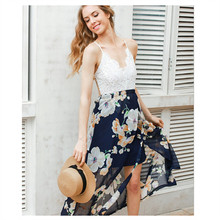 ФОТО yanqin 2018 summer style women lace dress floral print patchwork sexy v-nack women lace long dresses