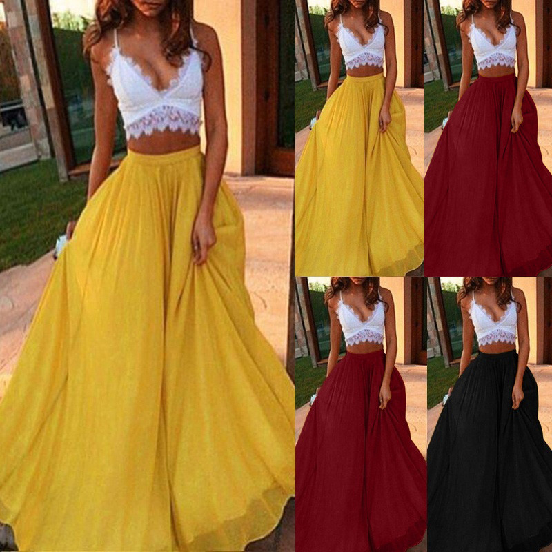 2020 Newly Women's Fashion Spring Summer Casual Solid Eelgant Color Midi Skirt  Chiffon Beach Ankle-Length Skirts 50
