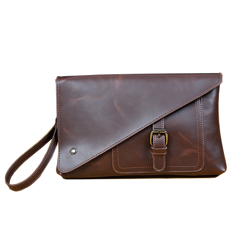 New Arrival Men Envelope Clutch Handbags Bag Business Pull-up Pu Leather Casual Men Hand Holding Bag Brown Day Clutch 29*3*19 Cm