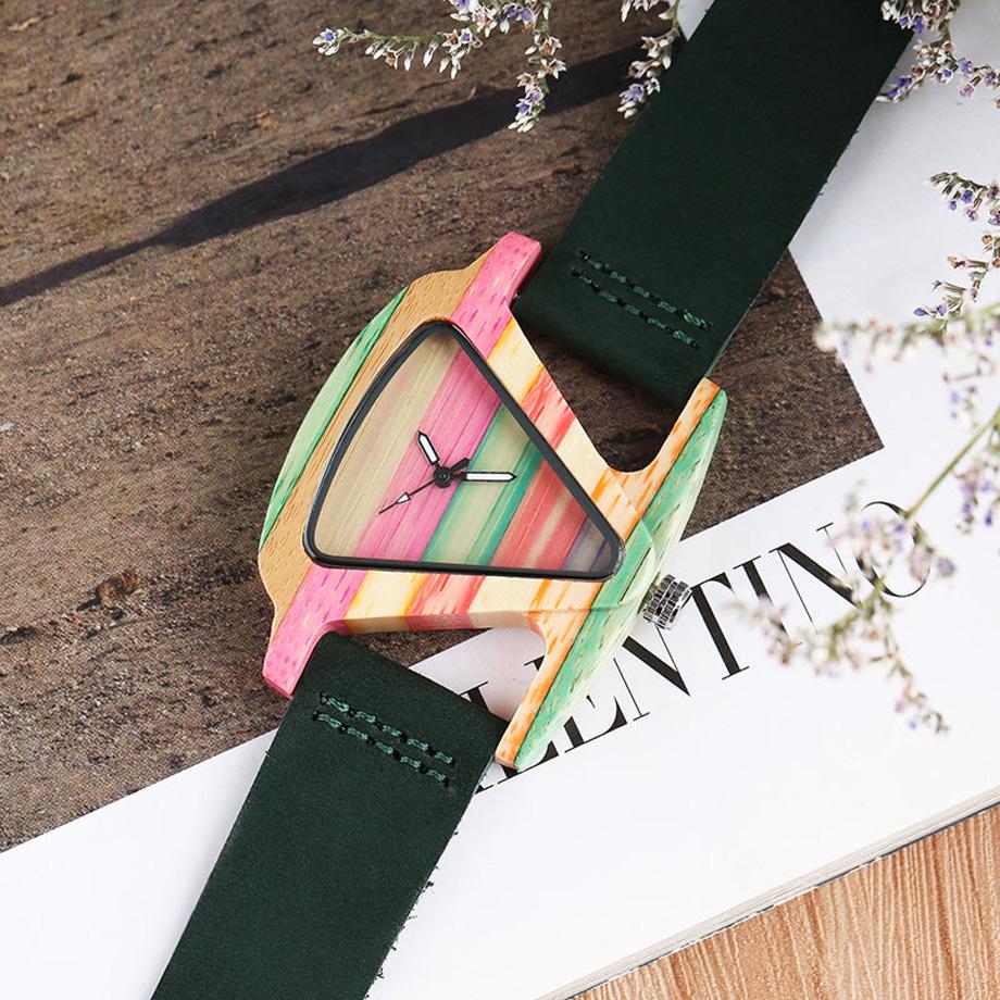 Creative Women Wood Watches Unique Colorful Wooden Triangle Hollow Quartz Wristwatch Ladies Elegant Fashion Genuine Leather Hour (11)