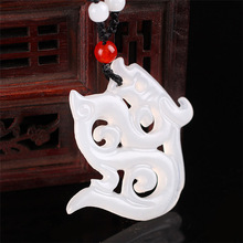 XinJiang White Jade Antique Dragon Pendant Necklace Drop Shipping Stone Lucky Amulet With Chain For Men Women