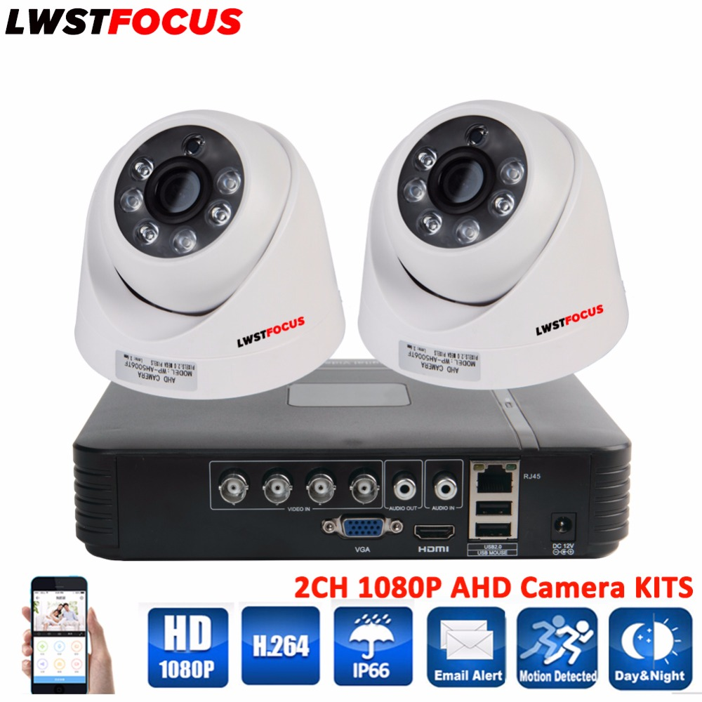 LWSTFOCUS 4CH AHD 1080N DVR Security CCTV Camera System 2PCS 1080P AHD Dome Security Camera CCTV Home Surveillance Camera Kits vga 4ch color cctv security camera quad processor remote control