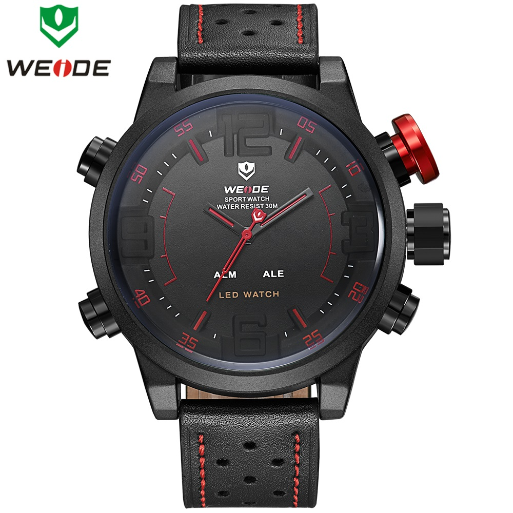 WEIDE Men Fashion Sport Wristwatches Luxury Famous Brand Men's Leather PU Strap LED Watch 30m Waterproof Casual Quartz Watches weide luxury brand men sports watch multiple time zone back light blue black fashion casual wristwatches hot clock wh5203