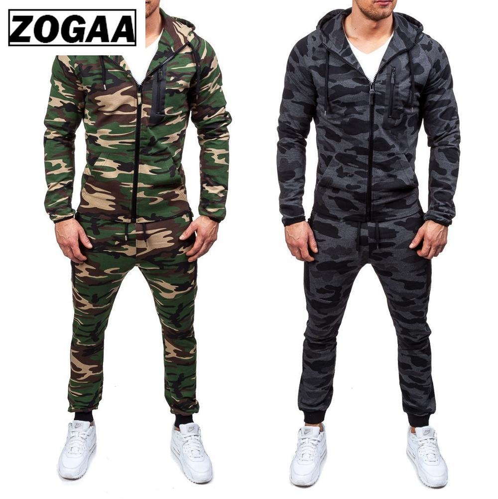ZOGAA New Men's Casual Camouflage Tracksuit Two Piece Set Sportswear Elastic Waist Pants Hooded Unique Sports Set Sweatshirts