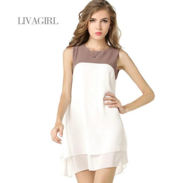 f7d952cb87270 US $4.46 5% OFF|Liva girl Women Summer White Irregular Beach Dress Loose  Patchwork Dress Tunic Sleeveless Beachwear Solid Gowns Dresses Vestidos-in  ...