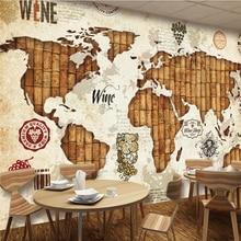 Beibehang papel de parede Retro World Map Red Wine Cork Restaurant Bar Wall Custom Large Mural Green Silk Wallpaper