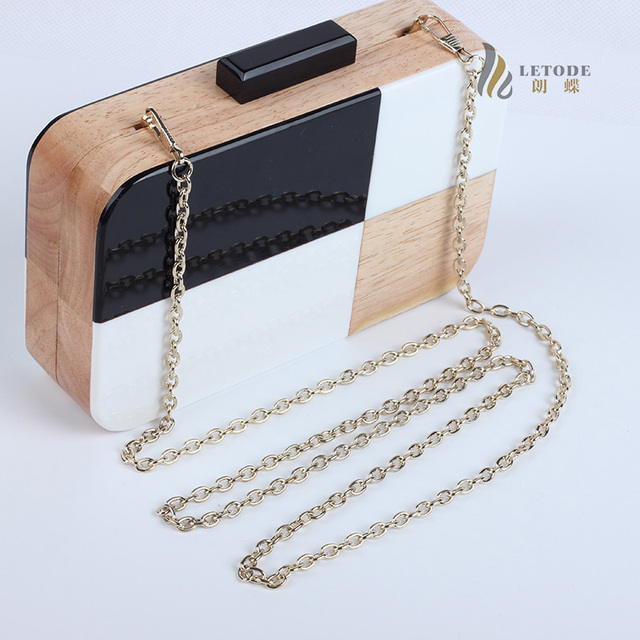 Acrylic Wood Travel Shoulder & Crossbody Handbag