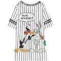 women summer striped tee tops woman casual cartoon jersey top tees ladies street style sport tshirts T shirt black white t-shirt