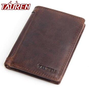 Винтаж дизайнер 100% натуральная Carteiras Masculinas натуральной кожи для мужчин короткие кошелек держатель для карт карман для монет мужской женски...