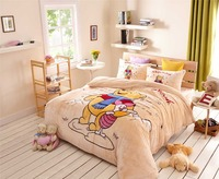 disney winnie pooh bedding set queen twin size full comforter cover+flat bed sheet+pillow case soft fleece fabric girl kid boys