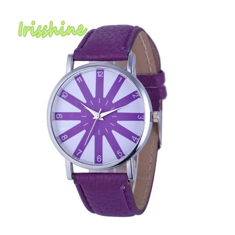 Irisshine i0552 Hot Lady Fashion Women's Leather Analog Stainless Steel Quartz Wrist Watch women watches gift newest 8colors claudia special fashion women stainless steel leather band quartz analog wrist watches dropship reloj mujer