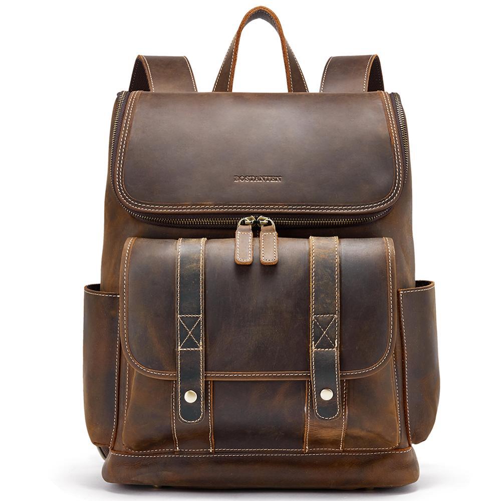 BOSTANTEN nouveau sac à dos en cuir de vachette véritable homme Crazy-horse cuir hommes sacs à dos collège bureau sac à dos pour ordinateur portable 15