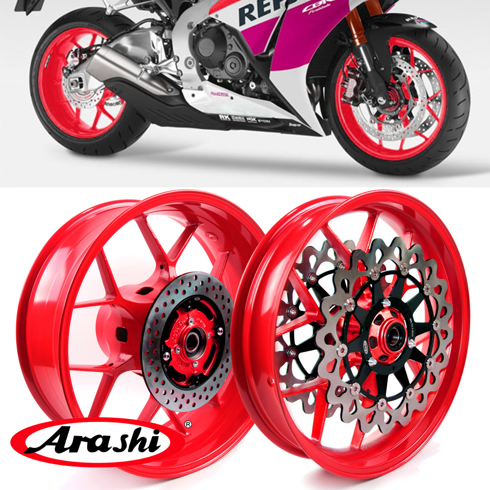 Arashi Red Front Rear Wheel Rim For HONDA CBR1000RR 2008-2016 Wheel Rims Brake Disc Rotors CBR1000 CBR 1000 RR 2008 2009 2010 front hub city road lion disc brakes front wheel tire rims