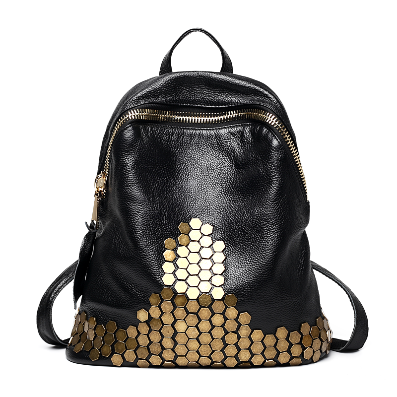 2018 Vintage High Quality Rivet Women Travel Backpack 100 Soft Natural Leather Female Bagpack Large Capacity