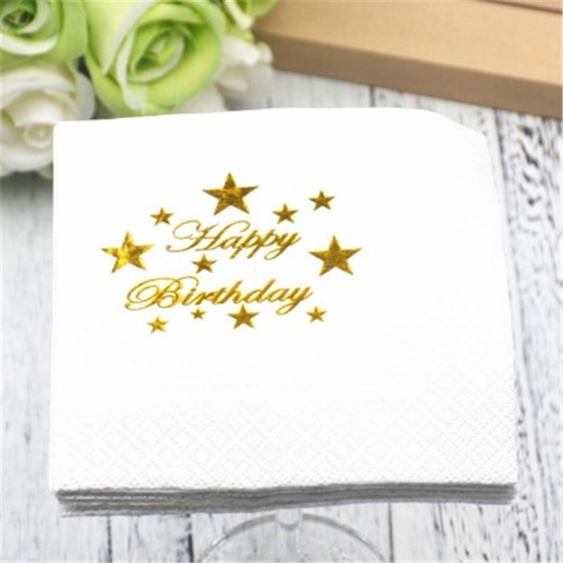 2018 Hot Sale 5Pcs/lot Gold Happy Birthday Just Married Party Paper Napkins Decor Boys and Girls Baby Shower Napkins Party Decor