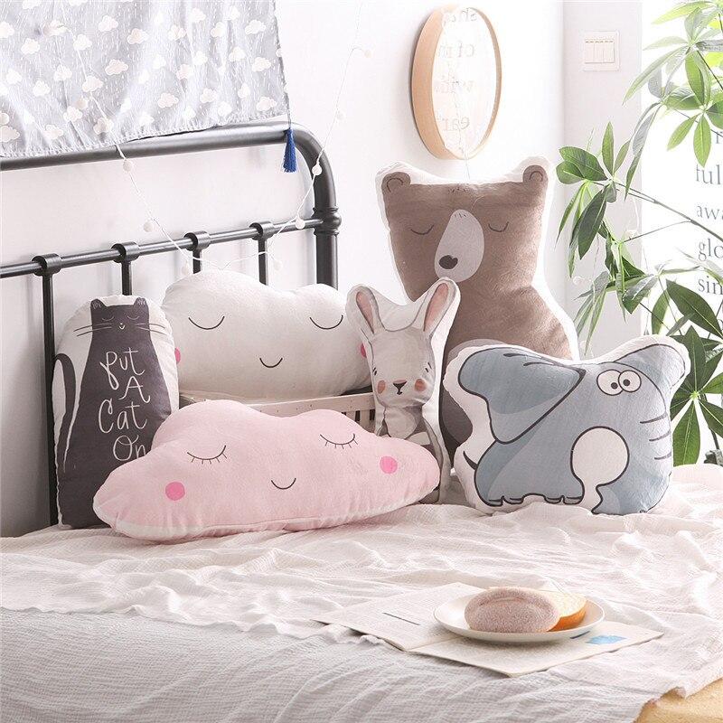 Cartoon Animals Rabbit Bear Cat Elephant Cloud Cushion