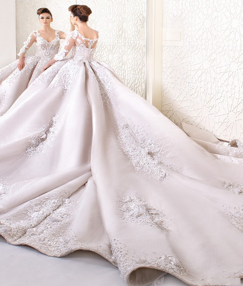 Vintage Three Quarter Length Wedding Dresses: Luxury Dubai Saudi Arabia Cathedral Wedding Dress 2019