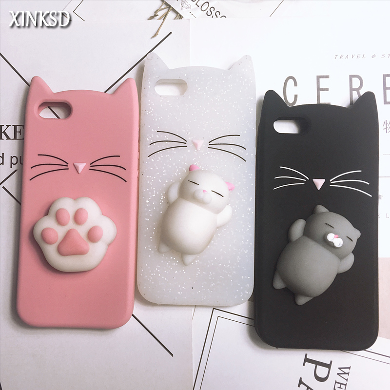 82fa63f22e 3D Cute Squishy Bear Seal Phone Case For iPhone 6 6S 7 8 Plus X Case  Cartoon Animal Cat Ear Silicone Case For iPhone5S SE 8 Plus