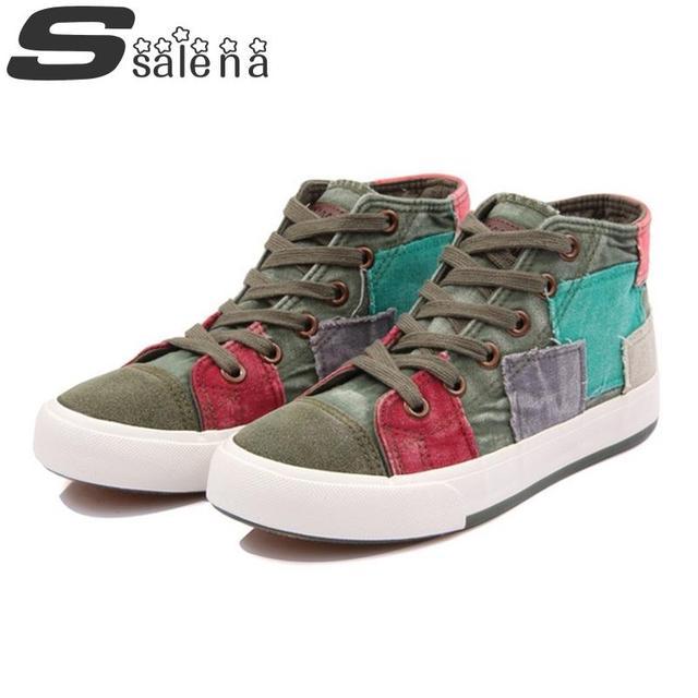 Women Vulcanize Shoes Denim Shoes Colorant Match High Lacing Flat Bottom Canvas Shoes Women Vintage Shoes A615