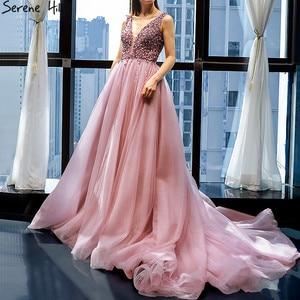 Image 2 - Dubai Design rouge haricot Sexy robes de soirée 2020 paillettes cristal sans manches étincelle robe formelle vraie Photo 66713