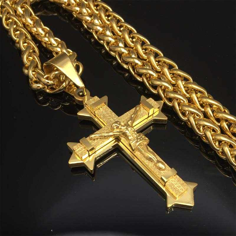 Top Quality Crucifix Cross Necklace Gold color Stainless Steel wheat Chain For Men Jewelry Jesus Piece