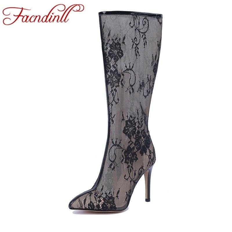 Zapatos Thin Altos Superior Botas Facndinll black Marca Señoras Verano  Tacones Tallas Mujer Encaje White Altas Rodilla Otoño De 8vxqw47x5 69345f20330