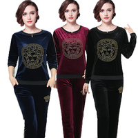 2018 Spring Women Set 2 Pieces Clothing Long Sleeve Top Pants Velvet Casual Track Suits Sportswear
