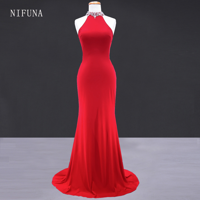 Vestidos de graduacion Women Evening Dress Cheap Long Prom Dresses Sexy  Open Back Mermaid Red Prom Dress 2018 galajurken lang 237a154a5793
