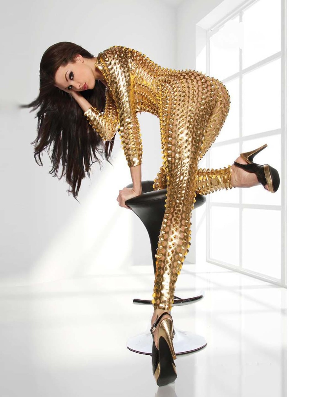 Gold-Metallic-Clubwear-Catsuit-with-Cutouts-W7711A-4