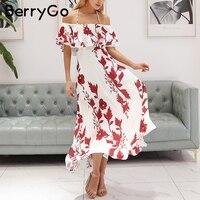 BerryGo Halter Print Off Shoulder Summer Dress Women Floral Backless Ruffle Long Dress Bohemian High Wasit