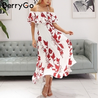 BerryGo Halter Print Off Shoulder Summer Dress Women Floral Backless Ruffle Long Dress Bohemian High Wasit