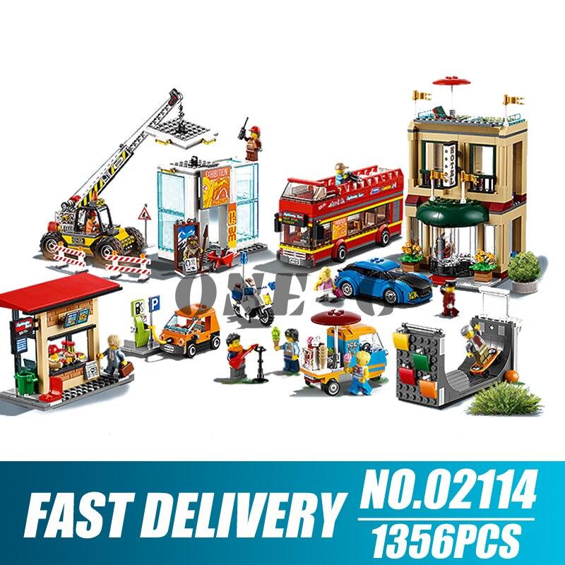 Building blocks 02114 1356pcs Compatible with legoingly City 60200 Bricks Capital City figures Educational toys for