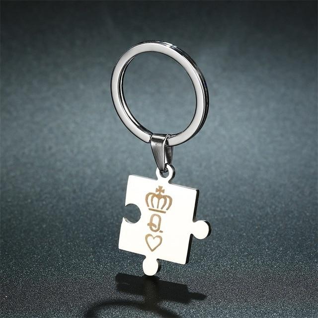 AZIZ BEKKAOUI litery K & Q para brelok z koroną moda ze stali nierdzewnej brelok król i królowa prezent rodzinny Dropshipping