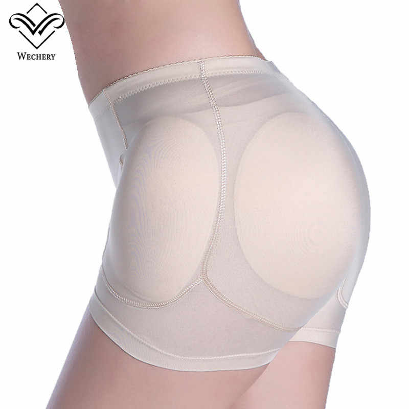 Wechery  Sexy Women 4pcs Pads Enhancers Butt Lifter Shapers Control Panties Removable Inserts Sponge Padded Slimming Underwear