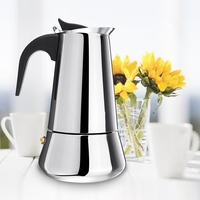 Coffee Maker Stainless Steel Wide Bottom Home Coffee Pot Moka Espresso Maker Percolator Stove Coffee Kettle