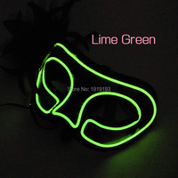 New Arrival Holiday Lights Neon Blink Led Black Dentelle Mask Evening Fashion Show EL Wire Funny