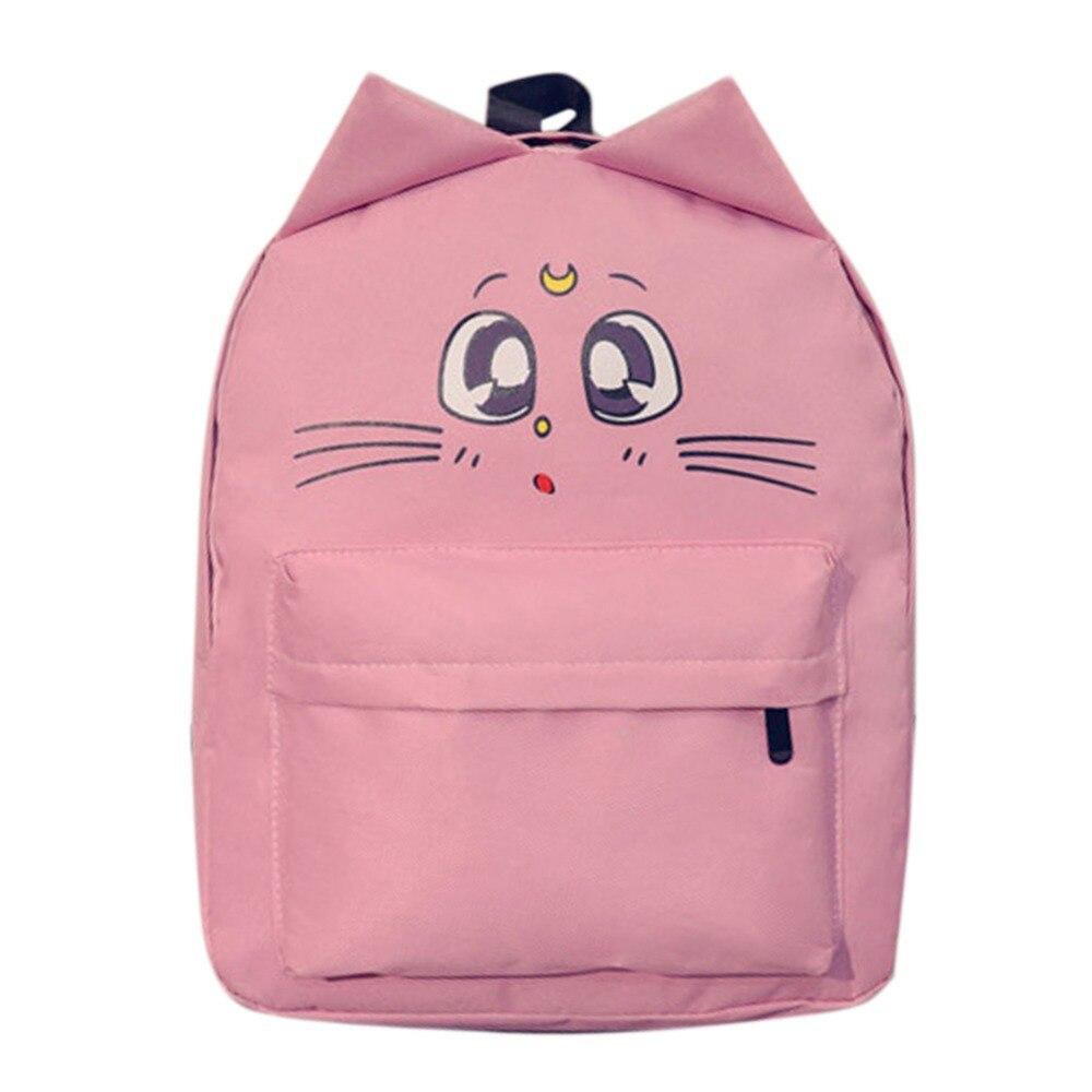 a5f8d2e7ba2d Casual Women Backpack Cat Ear Canvas Printing Backpacks for Teenage Girls  Female Cute School Bag Bagpack