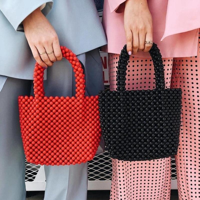 2019 Solid color women's beaded handbags elegant evening bag retro designer quality handbag luxury brand hand-woven pearl bag