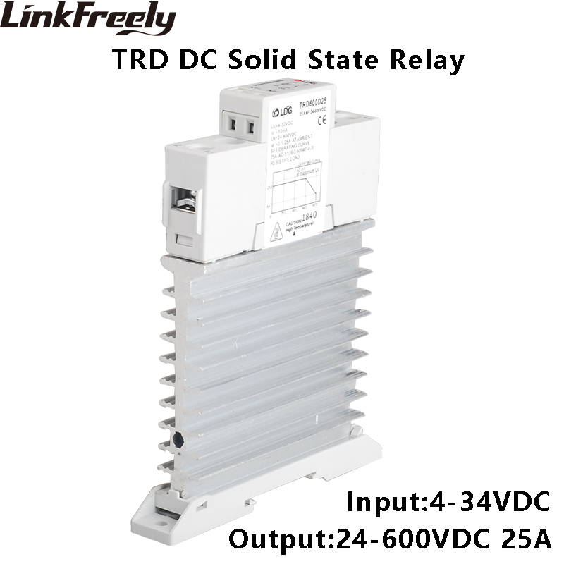 TRD600D25M1 5pcs Single Phase Solid State Relay SSR 25A DC To DC Input 4-32V DC Output 24-600VDC Integrated Heat Sink Relay tra 23d40m1 5pcs intelligent automation integrated ssr relay 3v 5v 12v 24v dc input din rail solid state relay heat sink 40a