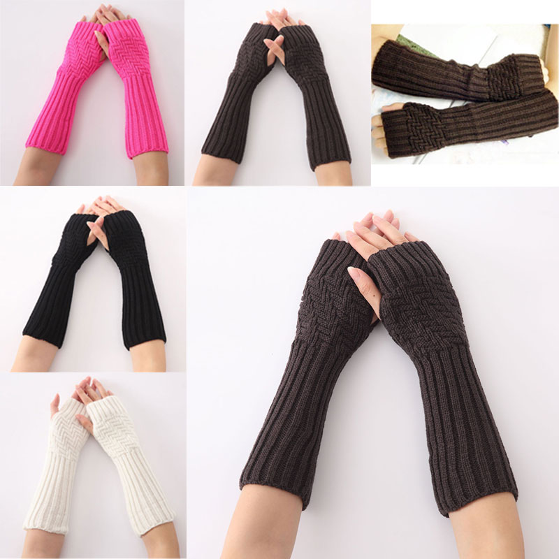 Fashion 1pair New Hand Knitted Half Fingers Long Gloves For Women Warm Autumn/Winter Hand Arm Gloves GM