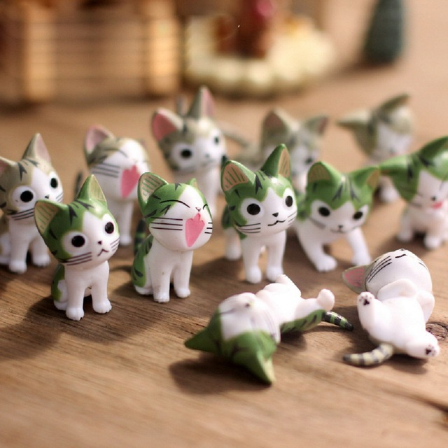 6pcs/Lot Cheese Cat Miniature Figurines Cute Lovely Model Kids Toy