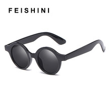 8130a328c FEISHINI Steampunk Vintage Rodada Óculos De Sol Das Mulheres Designer de  Verão Sentimentos Amorosos Padrão oculos de sol feminin.