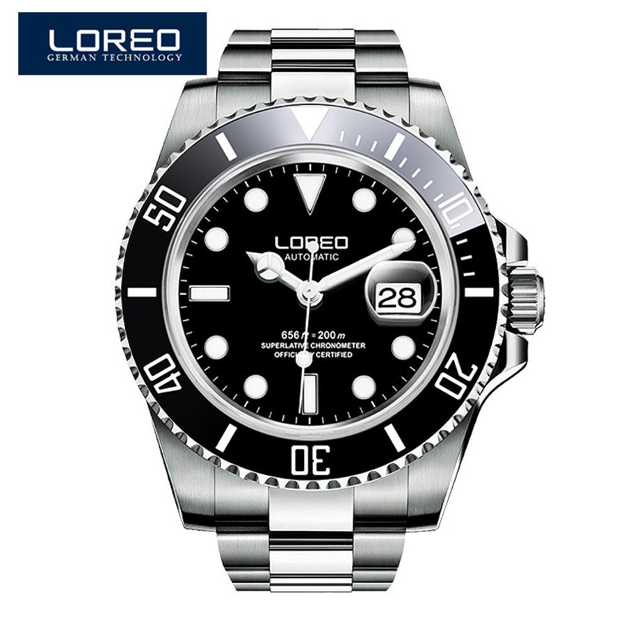 LOREO Luxury Brand Diving Men Military Sport Watches Men's Automatic Mechanical Clock Waterproof 200M Date Wristwatch Reloj