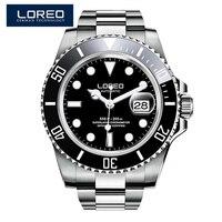 LOREO Luxury Brand Diving Men Military Sport Watches Men's Automatic Mechanical Clock Waterproof 200M Date Wristwatch Reloj
