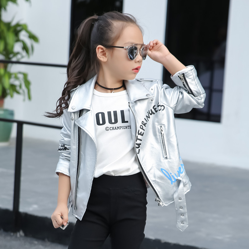 children's pu jacket Girls motorcycle jacket kid outwear Graffiti letters bright long sleeve Casual spring Autumn fashion