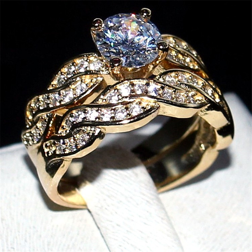 Choucong Jewelry Fashion 2ct Round 5a Zircon Stone 925 Sterling Silver CZ Engagement Band Ring Set