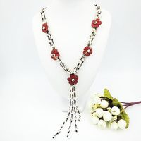 Natural Stone Red Jasper Shell Flowers With Jade Toggle Clasp Necklace Approx 60cm Fashion Women Jewelry